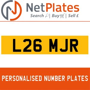 L26 MJR PERSONALISED PRIVATE CHERISHED DVLA NUMBER PLATE For Sale