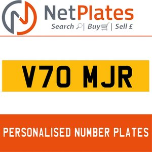V70 MJR PERSONALISED PRIVATE CHERISHED DVLA NUMBER PLATE