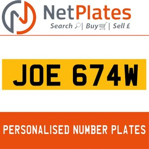 JOE 674W PERSONALISED PRIVATE CHERISHED DVLA NUMBER PLATE