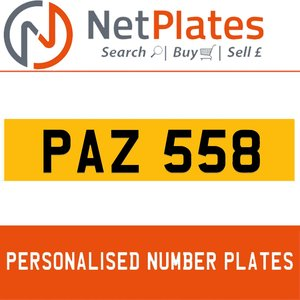 PAZ 558 PERSONALISED PRIVATE CHERISHED DVLA NUMBER PLATE