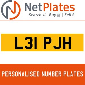 L31 PJH PERSONALISED PRIVATE CHERISHED DVLA NUMBER PLATE