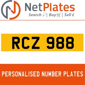 RCZ 988 PERSONALISED PRIVATE CHERISHED DVLA NUMBER PLATE For Sale