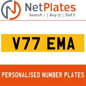 V77 EMA PERSONALISED PRIVATE CHERISHED DVLA NUMBER PLATE For Sale