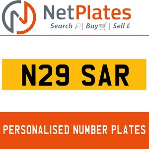 N29 SAR PERSONALISED PRIVATE CHERISHED DVLA NUMBER PLATE For Sale