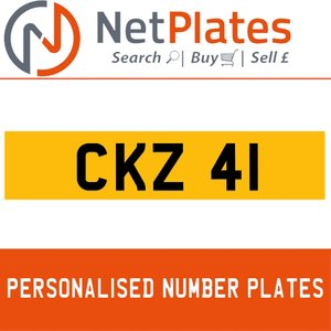 CKZ 41 PERSONALISED PRIVATE CHERISHED DVLA NUMBER PLATE For Sale