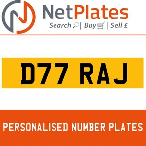 D77 RAJ PERSONALISED PRIVATE CHERISHED DVLA NUMBER PLATE For Sale