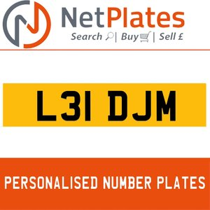 L31 DJM PERSONALISED PRIVATE CHERISHED DVLA NUMBER PLATE For Sale