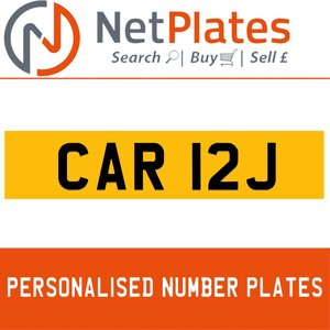 CAR 12J PERSONALISED PRIVATE CHERISHED DVLA NUMBER PLATE