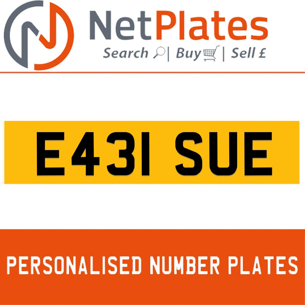 E431 SUE PERSONALISED PRIVATE CHERISHED DVLA NUMBER PLATE For Sale (picture 1 of 5)