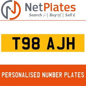 T98 AJH PERSONALISED PRIVATE CHERISHED DVLA NUMBER PLATE For Sale