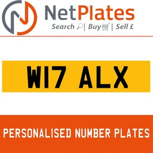 W17 ALX PERSONALISED PRIVATE CHERISHED DVLA NUMBER PLATE