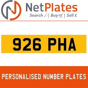 926 PHA PERSONALISED PRIVATE CHERISHED DVLA NUMBER PLATE