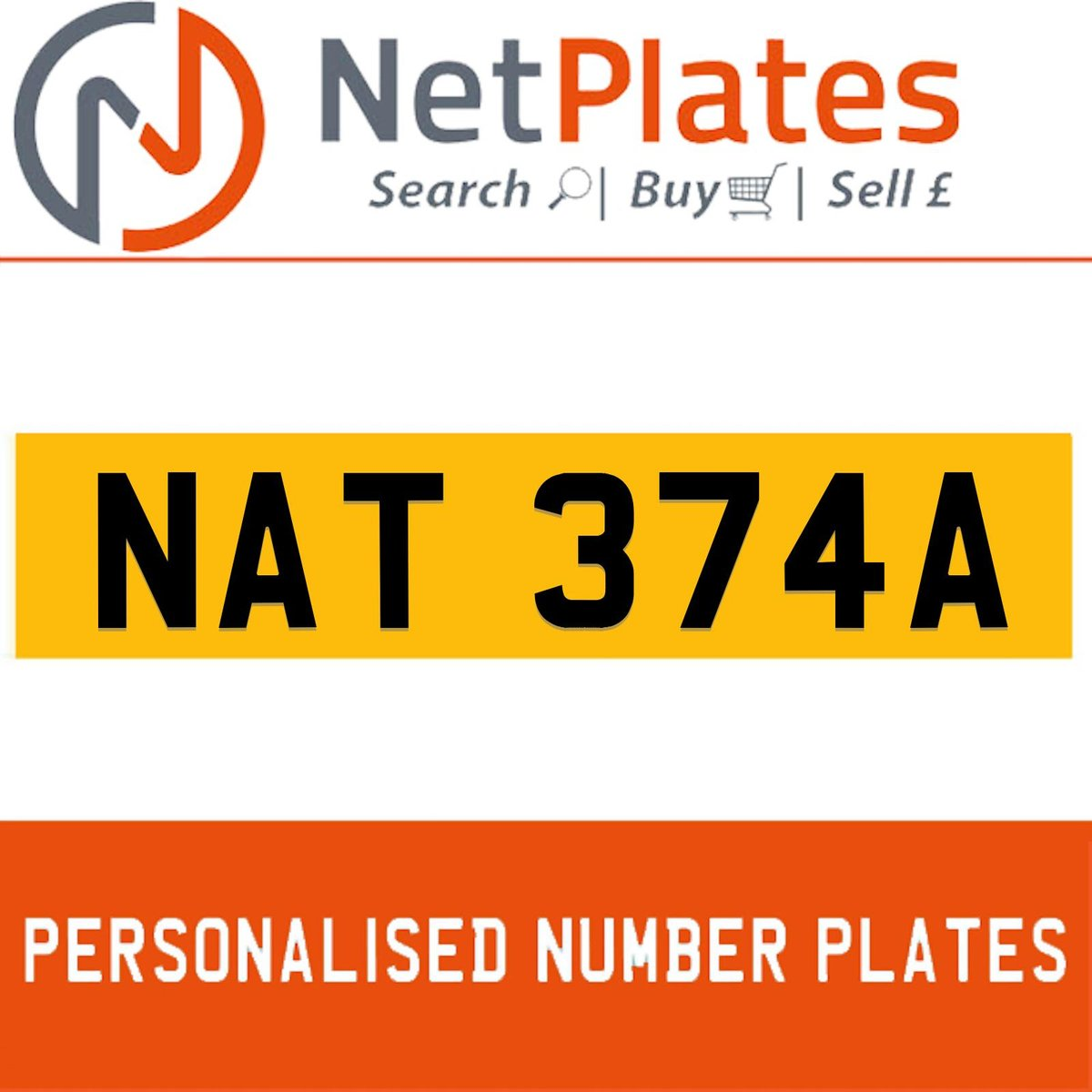 NAT 374A PERSONALISED PRIVATE CHERISHED DVLA NUMBER PLATE For Sale (picture 1 of 5)