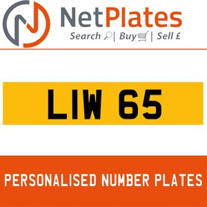 LIW 65 PERSONALISED PRIVATE CHERISHED DVLA NUMBER PLATE For Sale