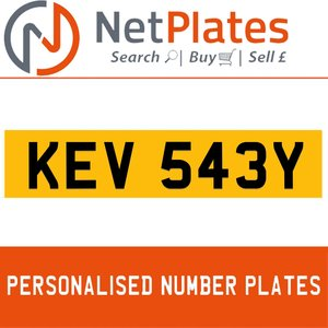 KEV 543Y PERSONALISED PRIVATE CHERISHED DVLA NUMBER PLATE