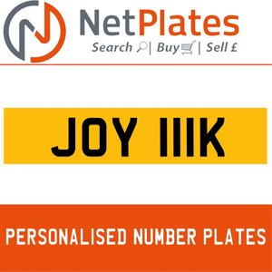 JOY 111K PERSONALISED PRIVATE CHERISHED DVLA NUMBER PLATE For Sale