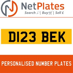 D123 BEK PERSONALISED PRIVATE CHERISHED DVLA NUMBER PLATE
