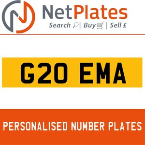 G20 EMA PERSONALISED PRIVATE CHERISHED DVLA NUMBER PLATE