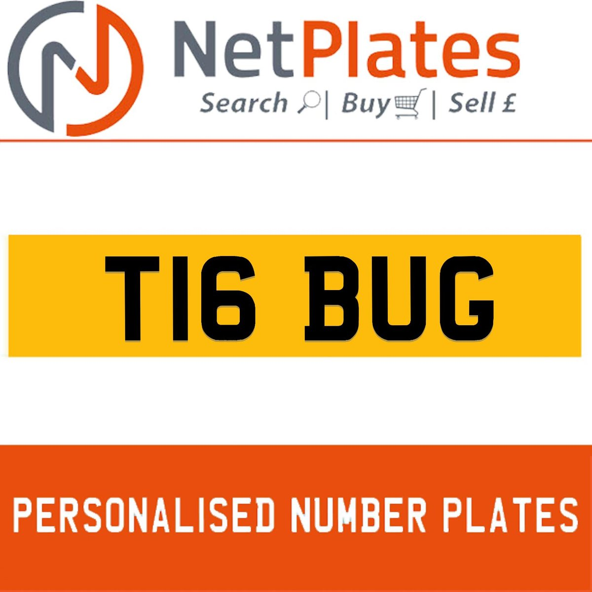 T16 BUG PERSONALISED PRIVATE CHERISHED DVLA NUMBER PLATE For Sale (picture 1 of 5)
