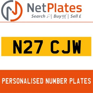 N27 CJW PERSONALISED PRIVATE CHERISHED DVLA NUMBER PLATE For Sale