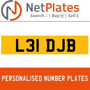 L31 DJB PERSONALISED PRIVATE CHERISHED DVLA NUMBER PLATE