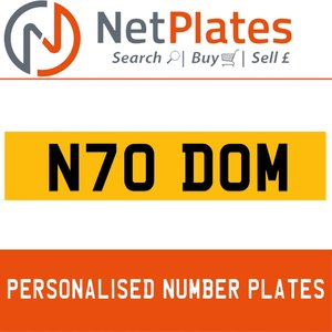 N70 DOM PERSONALISED PRIVATE CHERISHED DVLA NUMBER PLATE For Sale
