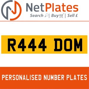 R444 DOM PERSONALISED PRIVATE CHERISHED DVLA NUMBER PLATE For Sale