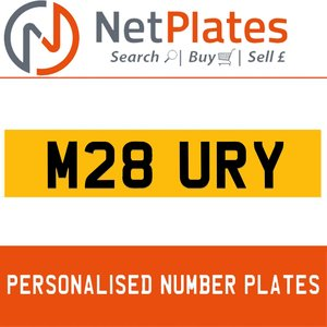 M28 URY PERSONALISED PRIVATE CHERISHED DVLA NUMBER PLATE For Sale