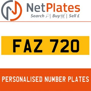 FAZ 720 PERSONALISED PRIVATE CHERISHED DVLA NUMBER PLATE For Sale
