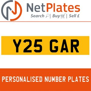 Y25 GAR PERSONALISED PRIVATE CHERISHED DVLA NUMBER PLATE For Sale
