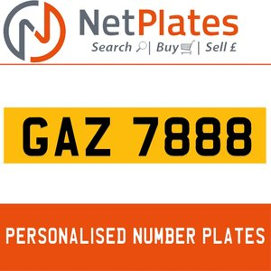 GAZ 7888 PERSONALISED PRIVATE CHERISHED DVLA NUMBER PLATE