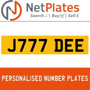J777 DEE PERSONALISED PRIVATE CHERISHED DVLA NUMBER PLATE For Sale