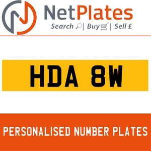HDA 8W PERSONALISED PRIVATE CHERISHED DVLA NUMBER PLATE For Sale