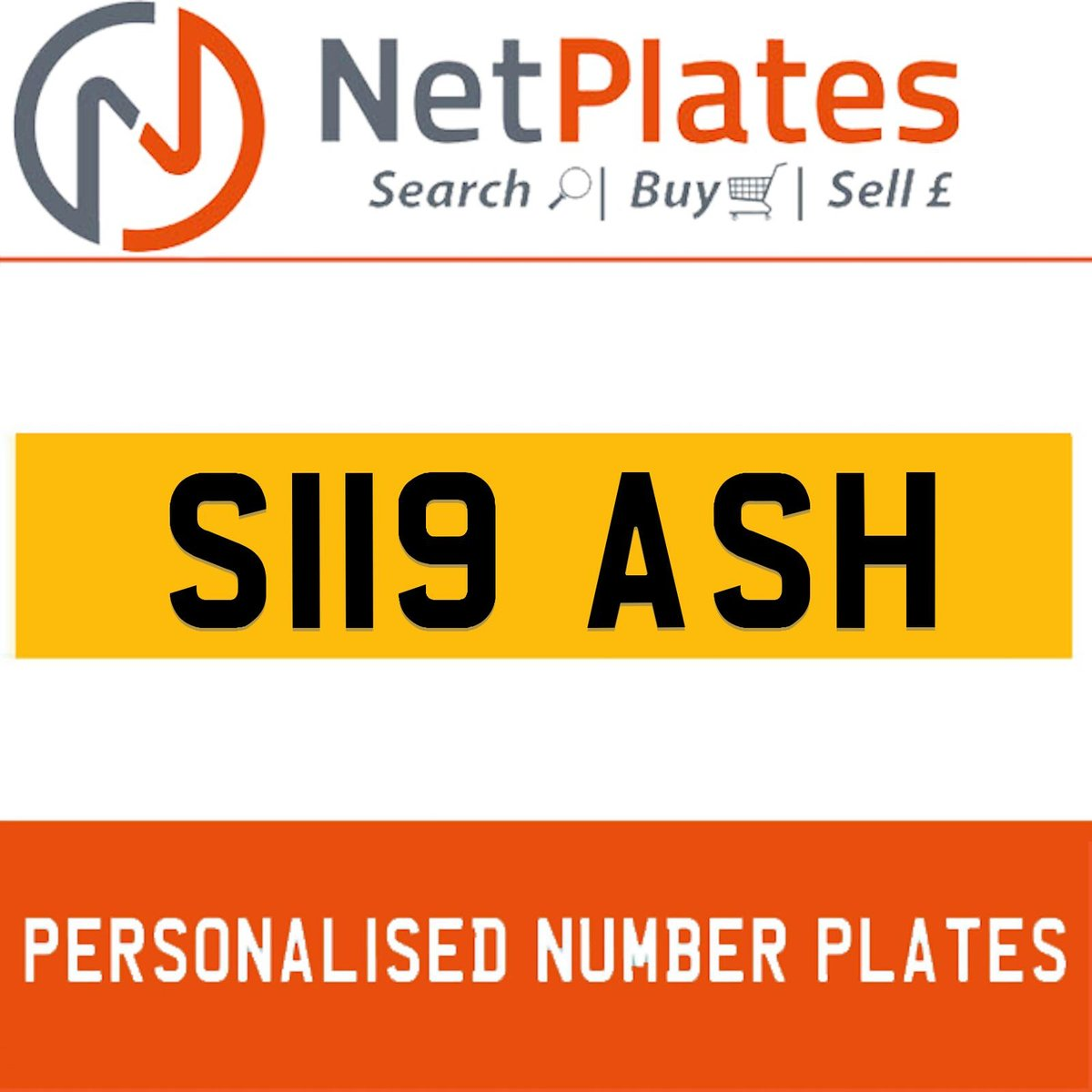 S119 ASH PERSONALISED PRIVATE CHERISHED DVLA NUMBER PLATE For Sale (picture 1 of 5)