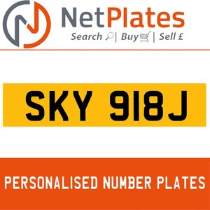 SKY 918J PERSONALISED PRIVATE CHERISHED DVLA NUMBER PLATE