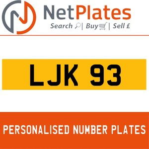 LJK 930 PERSONALISED PRIVATE CHERISHED DVLA NUMBER PLATE