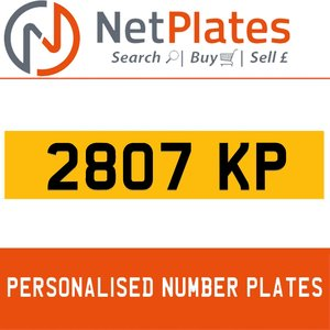 2807 KP PERSONALISED PRIVATE CHERISHED DVLA NUMBER PLATE For Sale