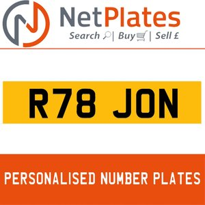 R78 JON PERSONALISED PRIVATE CHERISHED DVLA NUMBER PLATE For Sale