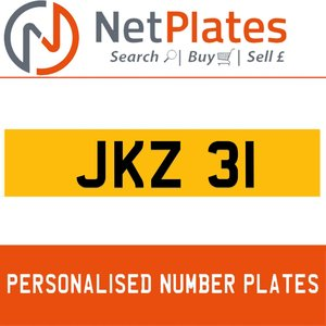 JKZ 31 PERSONALISED PRIVATE CHERISHED DVLA NUMBER PLATE For Sale
