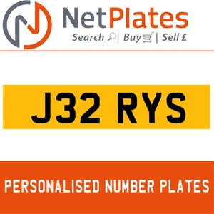 J32 RYS PERSONALISED PRIVATE CHERISHED DVLA NUMBER PLATE