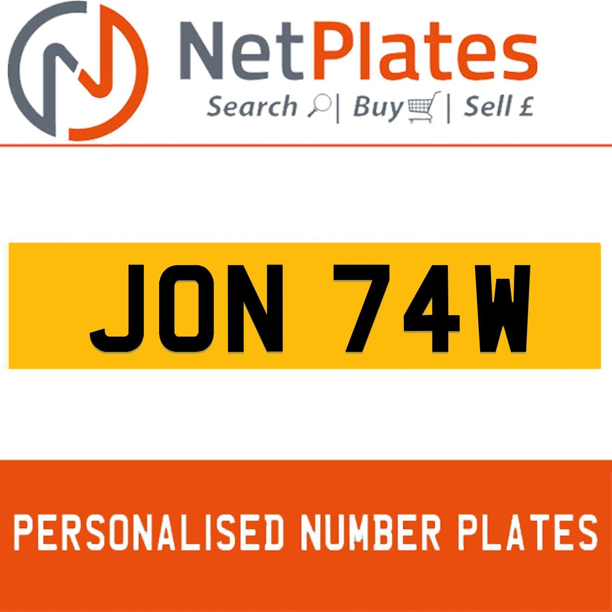 JON 74W PERSONALISED PRIVATE CHERISHED DVLA NUMBER PLATE For Sale (picture 1 of 5)