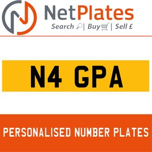 N4 GPA PERSONALISED PRIVATE CHERISHED DVLA NUMBER PLATE