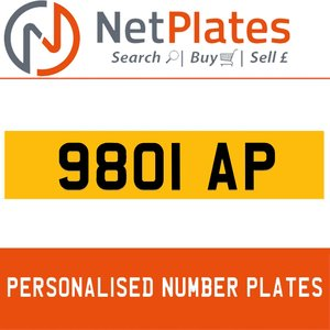 9801 AP PERSONALISED PRIVATE CHERISHED DVLA NUMBER PLATE