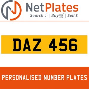 DAZ 456 PERSONALISED PRIVATE CHERISHED DVLA NUMBER PLATE For Sale