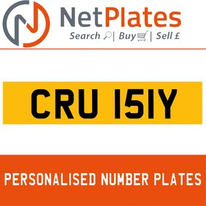 CRU 151Y PERSONALISED PRIVATE CHERISHED DVLA NUMBER PLATE For Sale