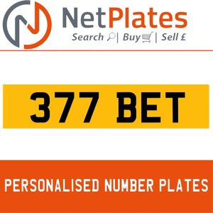 377 BET PERSONALISED PRIVATE CHERISHED DVLA NUMBER PLATE For Sale