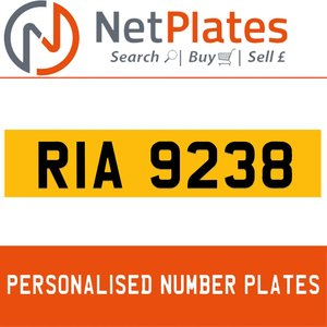 RIA 9238 PERSONALISED PRIVATE CHERISHED DVLA NUMBER PLATE For Sale
