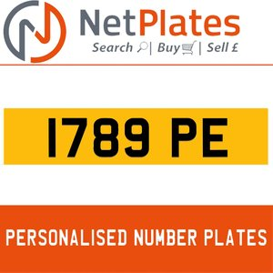 1789 PE PERSONALISED PRIVATE CHERISHED DVLA NUMBER PLATE For Sale