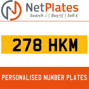 278 HKM PERSONALISED PRIVATE CHERISHED DVLA NUMBER PLATE For Sale