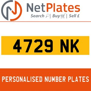 4729 NK PERSONALISED PRIVATE CHERISHED DVLA NUMBER PLATE